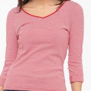 2/$40 NWT Ricki's Red White Striped 3/4 Sleeve Top
